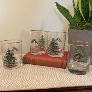 Spode glasses gold Christmas Tree old fashion